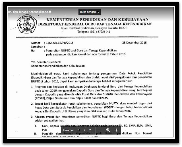 Download Surat Resmi GTK Untuk Pengusulan NUPTK 2016