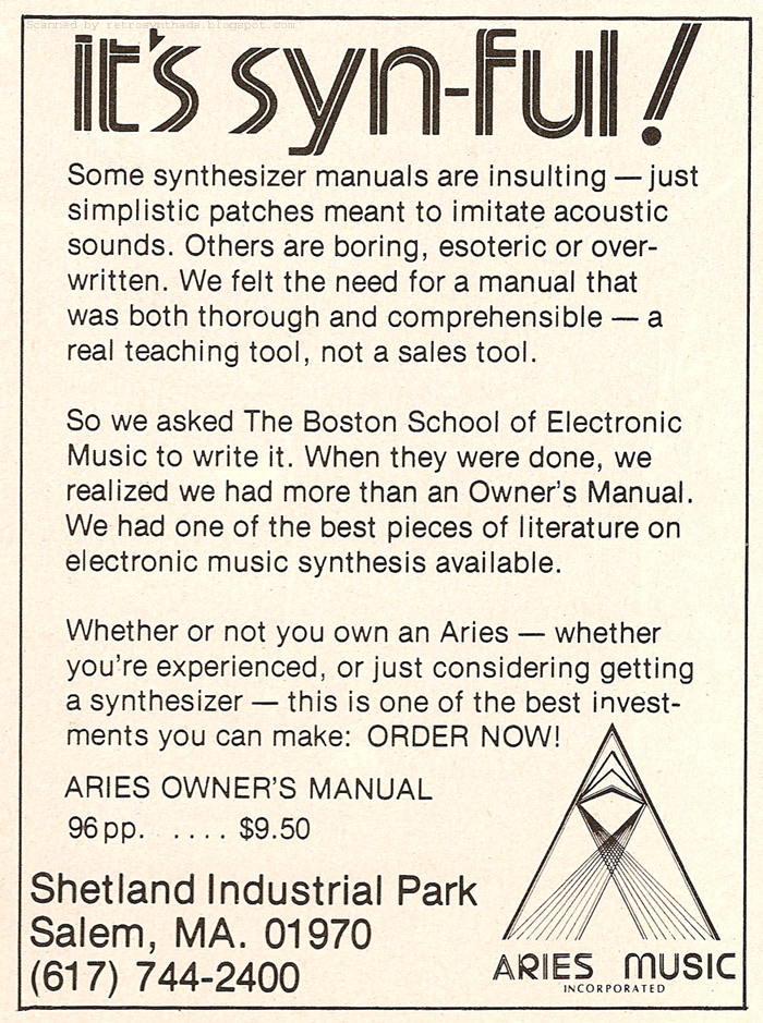 Retro Synth Ads: Aries Music Inc  Modular Synthesizer ad