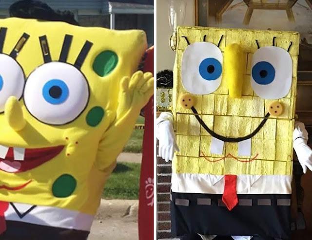 Thuê nhân vật Spongebob tới sinh nhật của con, bên trái là ảnh quảng cáo còn bên phải là sự thật...