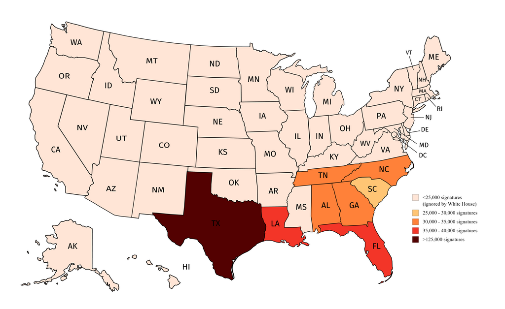 The number of signatures on each U.S. state's petition to secede