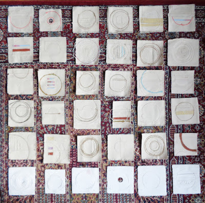 stitched canvas pieces for upcoming show at Library gallery in Drumheller, AB