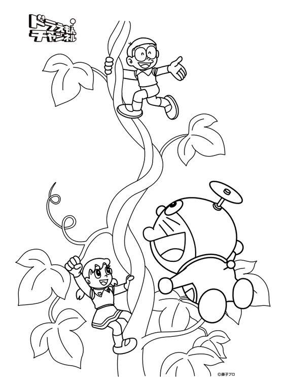 Tranh cho bé tô màu Doraemon và cây dây leo khổng lồ