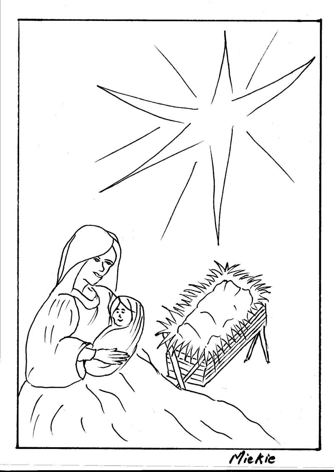 Christmas Scene Drawing.A Pretty Talent Blog Drawing A Nativity Scene And Angel