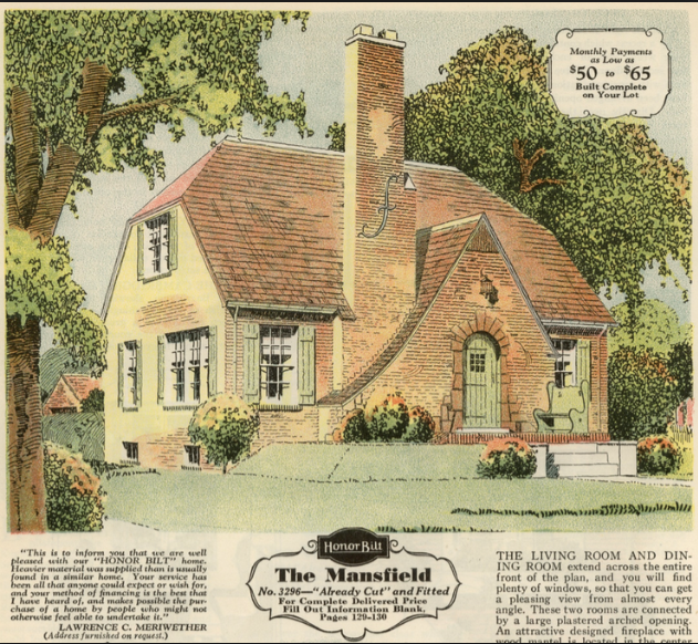 Sears Mansfield 1920 brick veneer supplement catalog