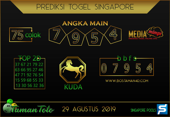 Prediksi Togel SINGAPORE TAMAN TOTO 29 AGUSTUS 2019