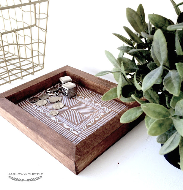 DIY Wooden Aztec Tray Anthropologie Inspired - Harlow and Thistle - 9