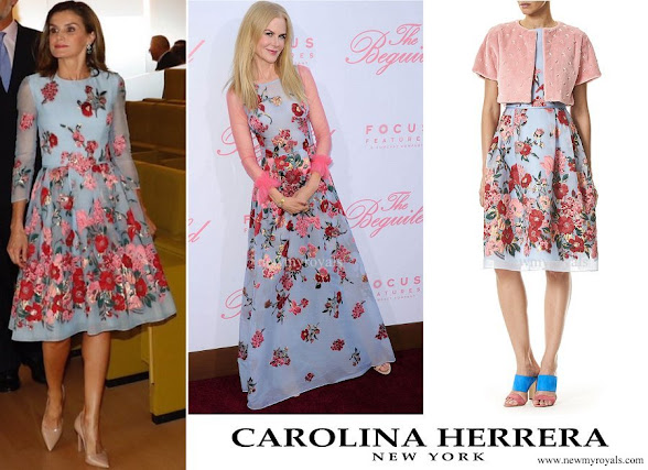 Queen Letizia wore Carolina Herrera embroidered dress from Resort 2018 Collection