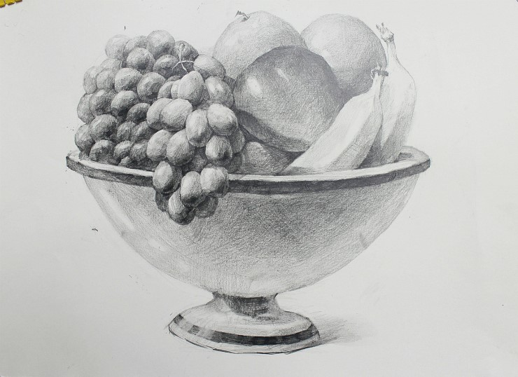 NAMIL ART: drawing step by step Drawing Fruit bowl ...
