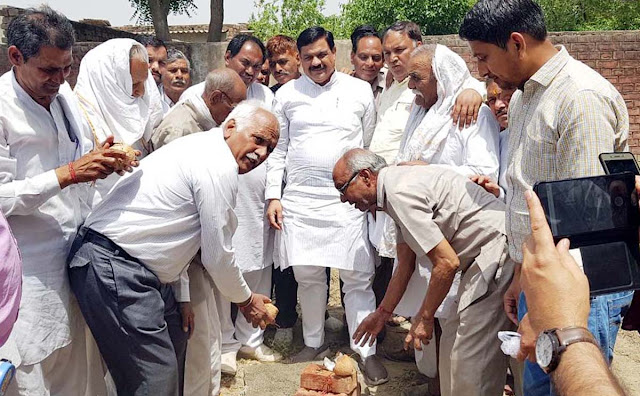 MLA Tichchand Sharma laid the foundation stone of Model School in village Fatehpur Bailouch