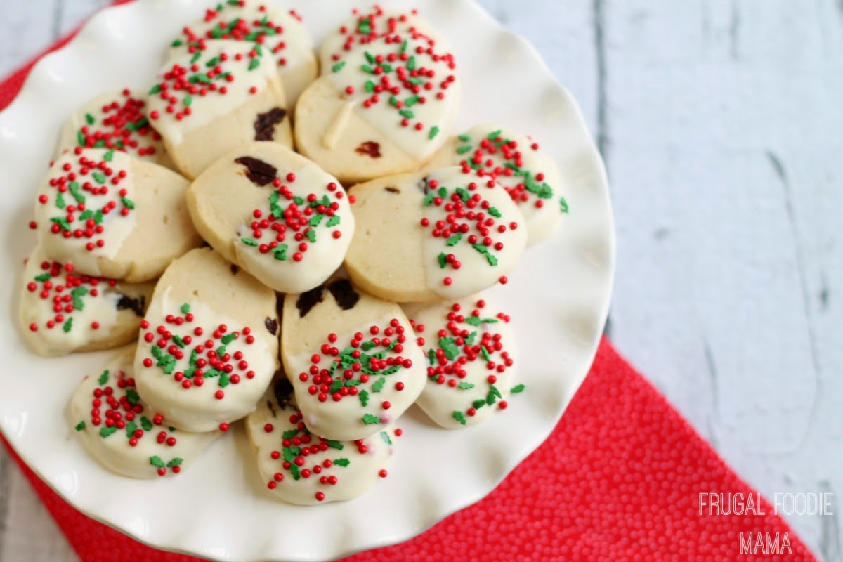 White Chocolate Dipped Cherry Shortbread Cookies