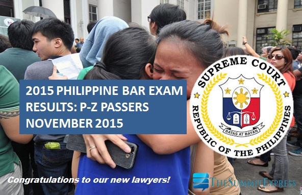 P-Z Passers: 2015 Philippine Bar Exam Results