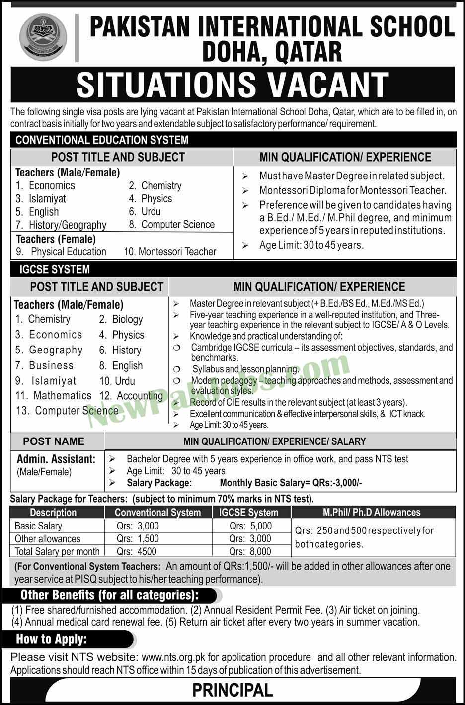 Latest Jobs in Pakistan International School Doha Qatar 06 Jan 2019