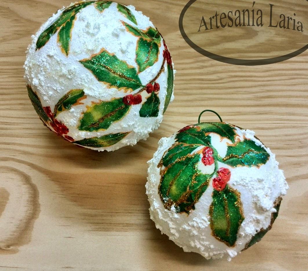 58275d0a71f Artesanía Laria  bolas de navidad decoradas con decoupage y texturas