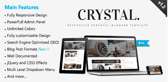 Crystal Blogger Template For Affiliate website