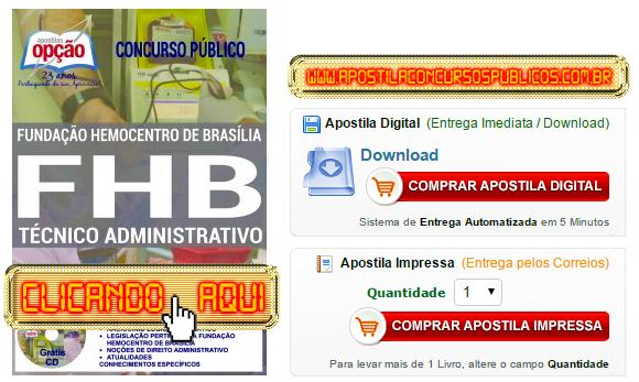 Apostila Concurso Hemocentro DF 2016 Técnico Administrativo PDF Impressa