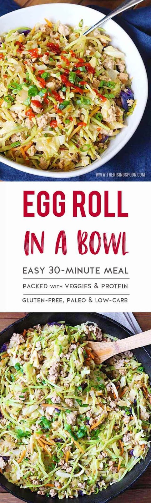 Egg Roll in a Bowl is an easy 30-minute stir-fry meal packed with simple, fresh ingredients and inexpensive pantry staples like cabbage, carrot, broccoli, ground pork, garlic, onion, and tamari or soy sauce. Serve it on a busy weeknight for a fast fresh dinner that everyone will love! (paleo, low-carb & gluten-free)