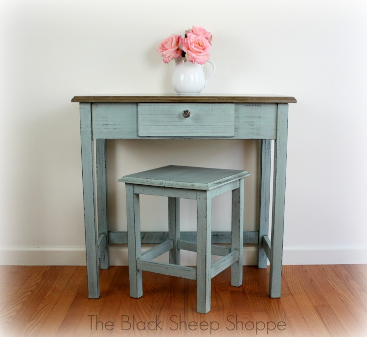 After: Vintage writing desk and seat painted  in Duck Egg Blue and Coco.