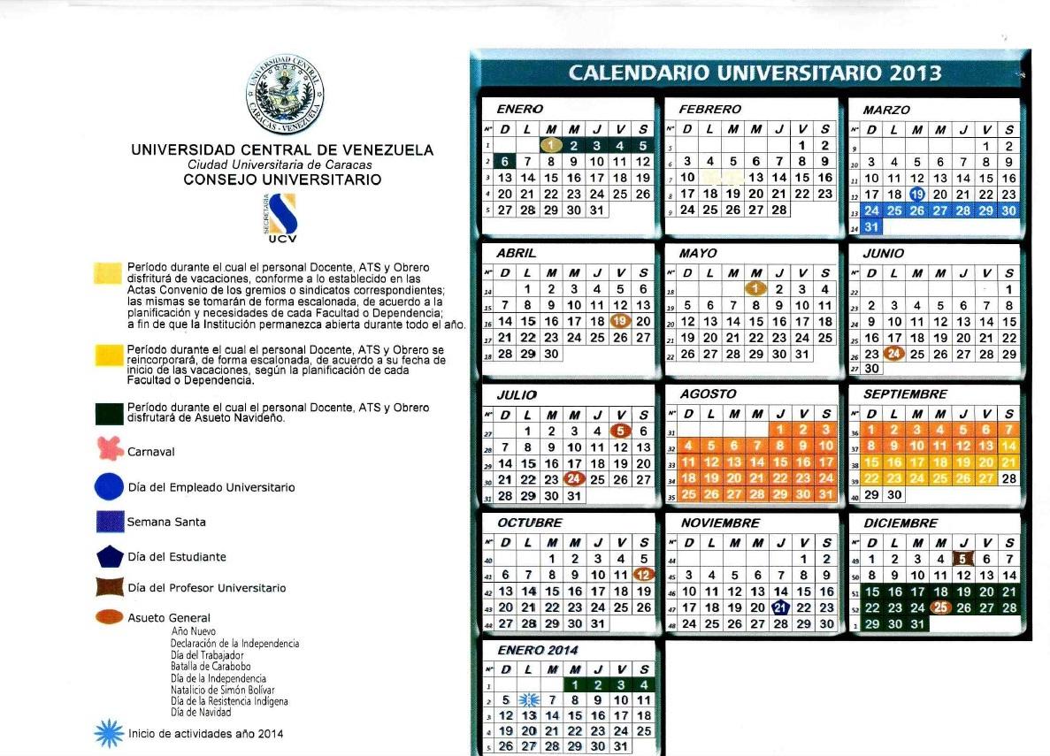 Calendario Universitario.Division Salud Ucv Calendario Universitario 2013