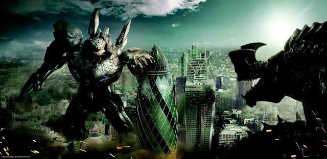 Jaegger peleando contra un Kaiju