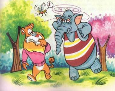 fabula corta el leon y el elefante