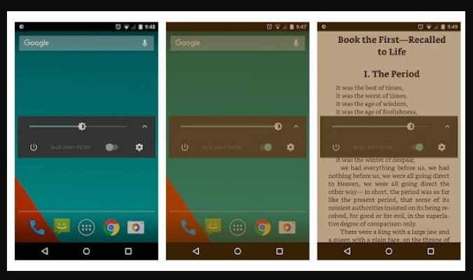 Aplikasi Filter Sinar Biru untuk Android - Dimly-Screen Dimmer
