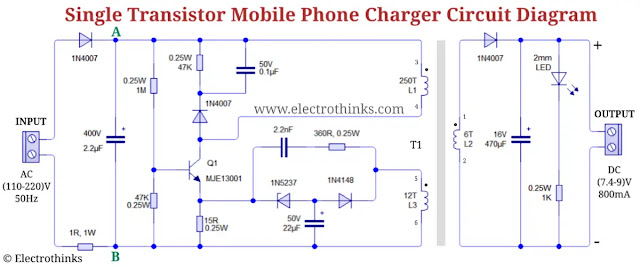 Single transistor Mobile phone charger Circuit diagram