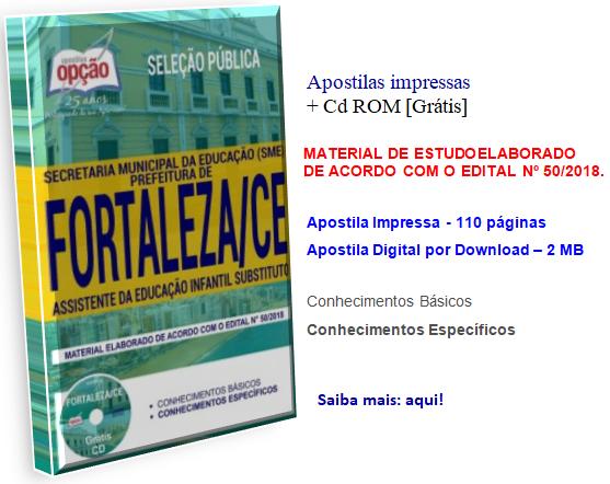 Apostilas Seleção Pública para Assistente da Educação Infantil Substituto Prefeitura de Fortaleza