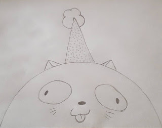 "A pencil sketch of a cat from Parry Gipps ""There's a Cat licking your Birthday Cake"" by me based on the original art of Brianne Drouhard."