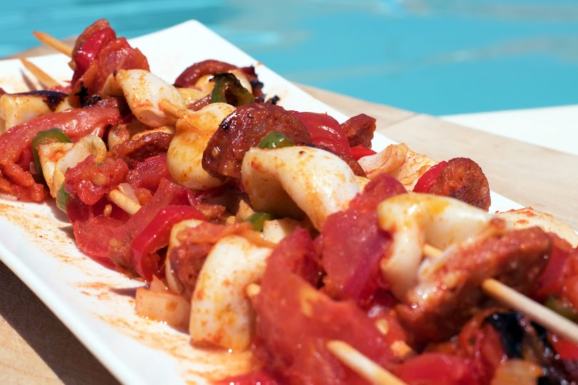 recette Brochettes de calamars et chorizo