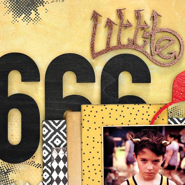 666 Wood Veneer Painted Black Numbers on Little Devil Halloween Scrapbook Layout