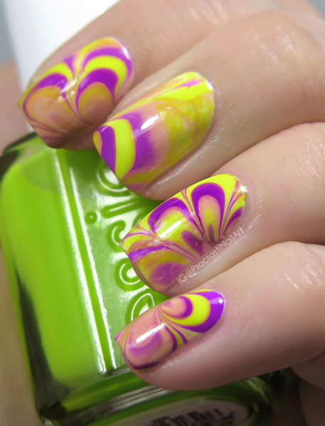 Nail Art // Neon and Nude Watermarble for When Colors Collide ...
