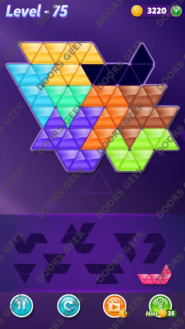 Block! Triangle Puzzle 8 Mania Level 75 Solution, Cheats, Walkthrough for Android, iPhone, iPad and iPod