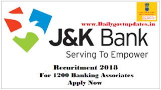 JK Bank Banking Associate Exam Date Announced - DailyGovtUpdates.In