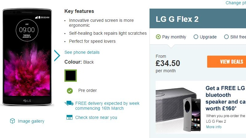 Pre-order the LG G Flex 2 at Carphone Warehouse and receive a free Bluetooth speaker