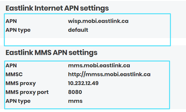 New Eastlink APN Settings