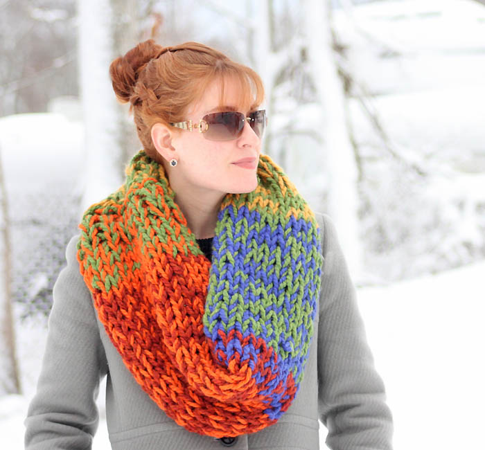 Knitting Patterns Wool Ease Thick Quick : Double Layered Chunky Cowl Knitting Pattern - Gina Michele