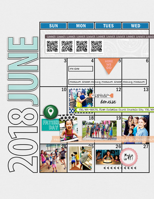 June 2018 {left} Digital Scrapbook Planner Page in Review