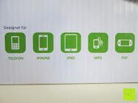 geeignet für: Kalibri® Solar Ladegerät für umweltfreundliches Laden von Smartphone, Tablet, iPhone und iPad