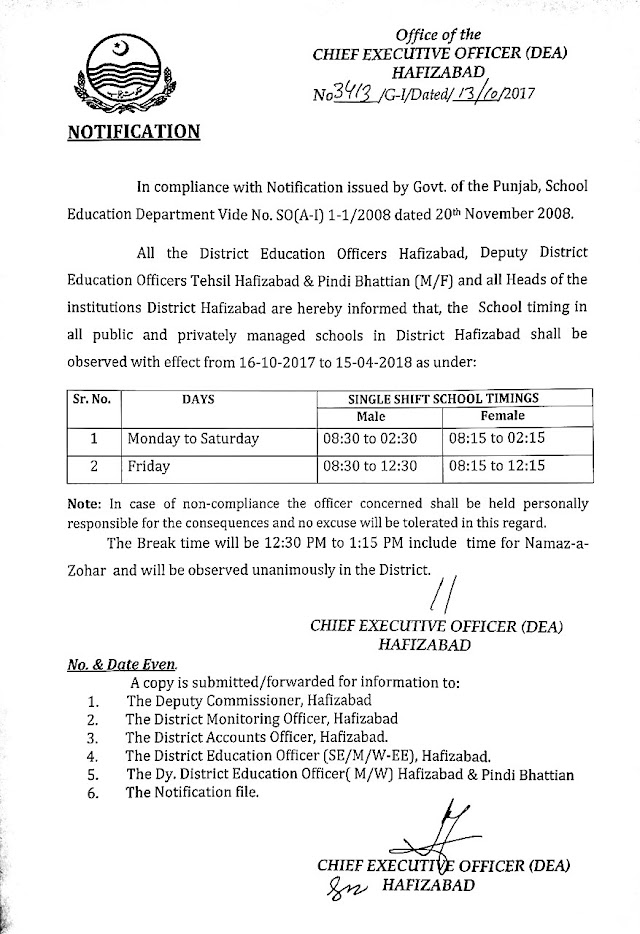 SCHOOL TIMINGS NOTIFICATION DISTRICT HAFIZABAD WITH EFFECT FROM 16.10.2017 TO 15.04.2018
