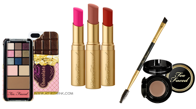 Too Faced Candy Bar Pop-Out Makeup Palette, La creme Color Drenched Lip Cream lipsticks, Bulletproof Brows