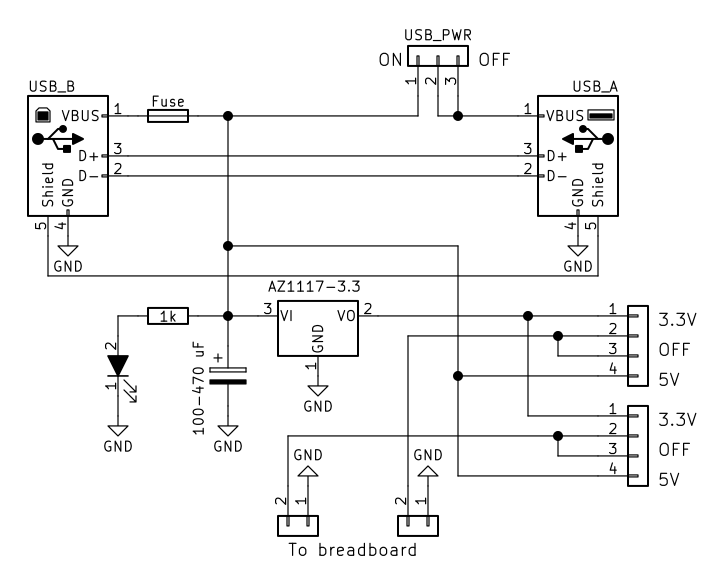 USB Power Supply for Breadboard · One Transistor on usb power supply cable, usb port schematic, usb 5v power supply, usb interface schematic, usb pcb schematic, usb led schematic, usb pin out schematic, usb splitter schematic, usb headset schematic, usb oscilloscope schematic, usb port power supply, usb connector schematic, usb power supply component, usb adapter schematic, usb type schematic, usb card reader schematic, usb wiring schematic, usb solar charger circuit, usb power diagram, usb power supply specification,