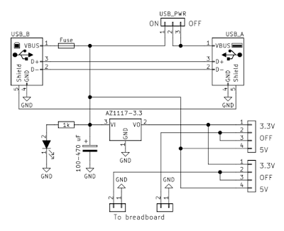 USB breadboard power supply schematic