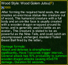 naruto castle defense 6.4 Wood Golem Jutsu detail