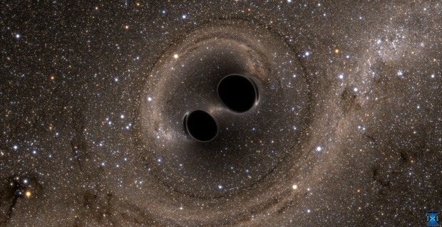 The collision of two black holes holes—a tremendously powerful event detected for the first time ever by the Laser Interferometer Gravitational-Wave Observatory, or LIGO—is seen in this still from a computer simulation. LIGO detected gravitational waves, or ripples in space and time generated as the black holes spiraled in toward each other, collided, and merged. This simulation shows how the merger would appear to our eyes if we could somehow travel in a spaceship for a closer look. It was created by solving equations from Albert Einstein's general theory of relativity using the LIGO data. Credit: SXS, the Simulating eXtreme Spacetimes (SXS) project (http://www.black-holes.org)