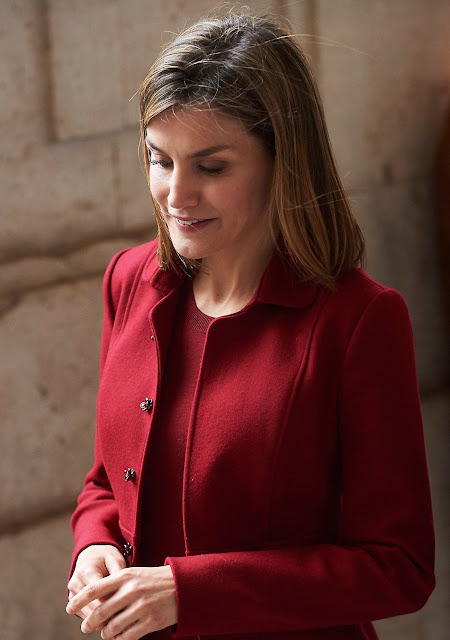 Queen Letizia of Spain attends a Working visit to the presentation of the improvements made in the Royal Palace of Madrid