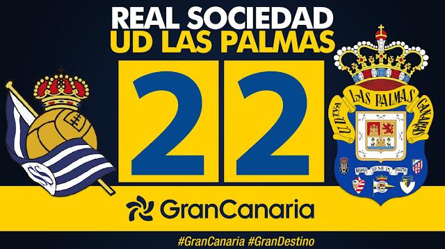 Marcador final Real Sociedad 2-2 UD Las Palmas