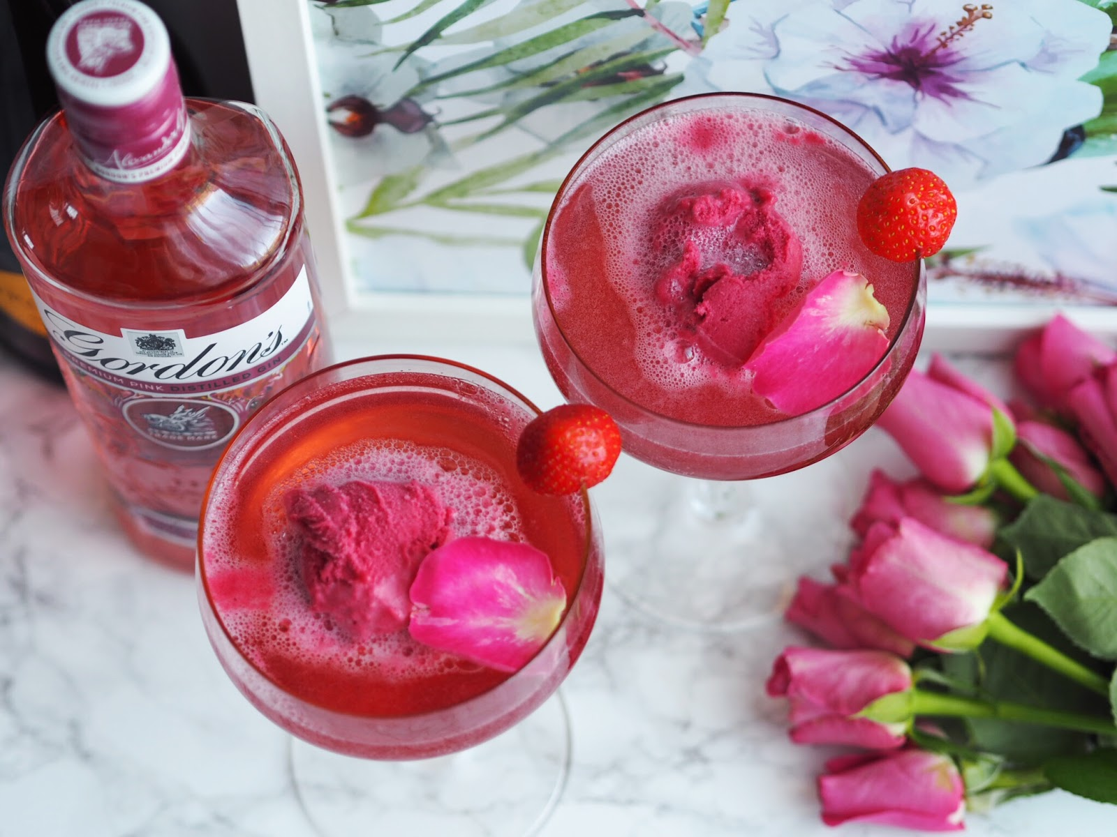 Gordons Pink Gin Fizz Cocktail Recipe View From Above with Roses