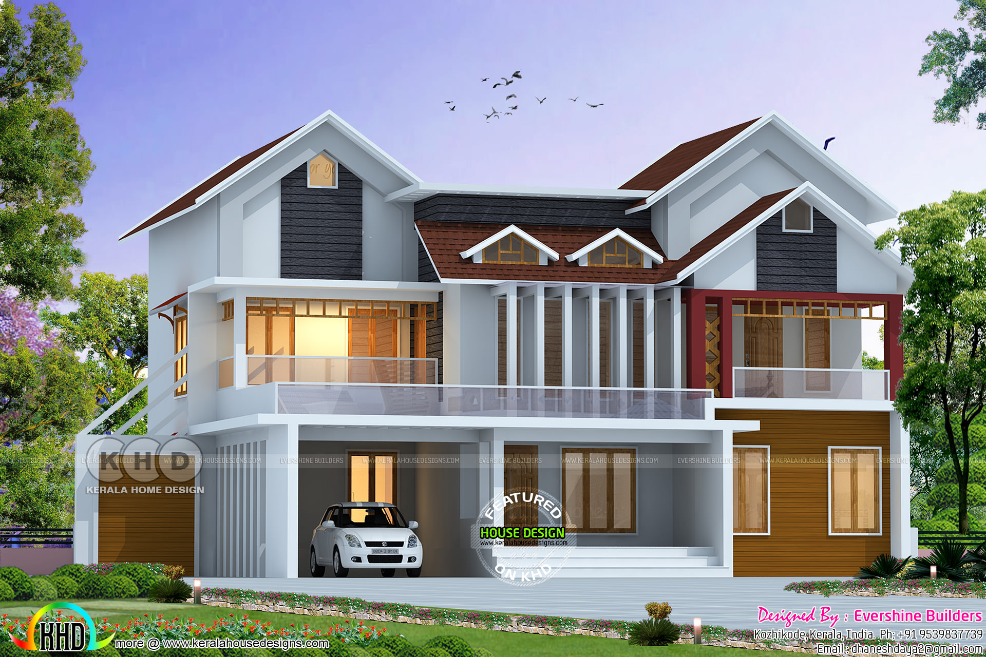 Awesome Mixed Roof 2800 Sq Ft Home Kerala Home Design