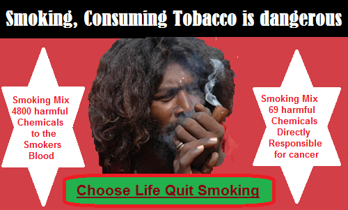 Smoking Cigarettes, Bidies or Consuming tobacco in any form is dangerous