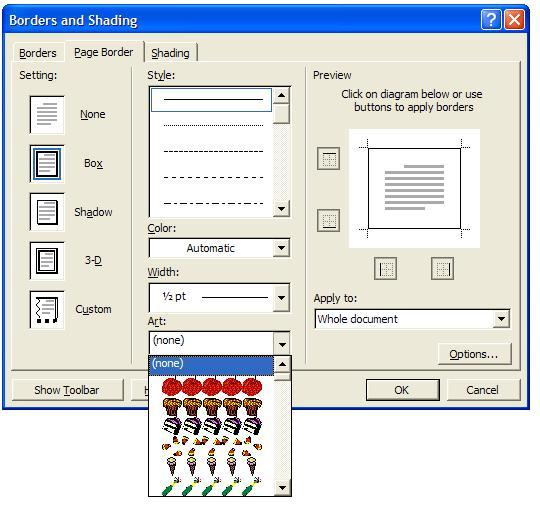 Inser Page Color And Page Border